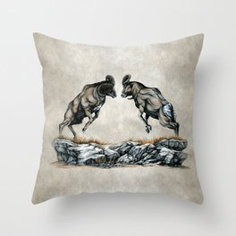 Fighting Bighorn Sheep Rams Throw Pillow