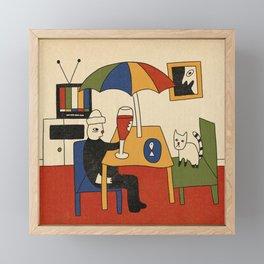 Cat Date Framed Mini Art Print