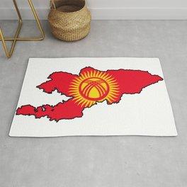 Kyrgyzstan Map with Kyrgyz Flag Rug