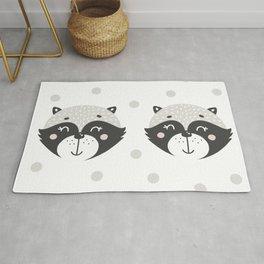 Cute animal face pattern illustration Rug