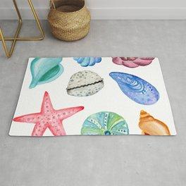 Seashells Watercolor Rug