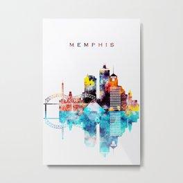 Colorful Watercolor Memphis Skyline Metal Print