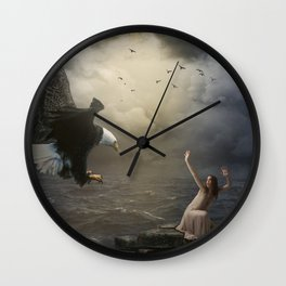 The girl and the eagle Wall Clock