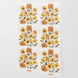 Sunflower Watercolor – Yellow & Black Palette Wallpaper