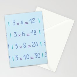 Three Times Table Pattern Stationery Cards