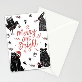 Christmas black and white animals Stationery Cards