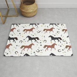 Horses With Horseshoe and Stars Pattern Rug