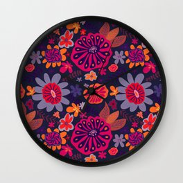 Playful Flowers Warm Colors with Dark Background Wall Clock