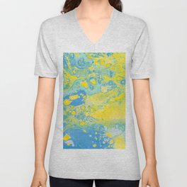 Fluid Art Acrylic Painting, Pour 36, Yellow, Green & Blue Blended Color Unisex V-Neck