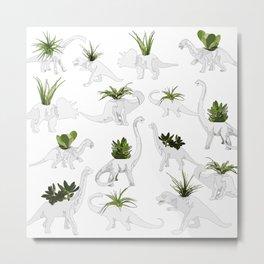 Dino and Cacti on White Metal Print