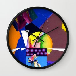 African American Masterpiece 'A Nutcracker' abstract landscape painting by E.J. Martin Wall Clock