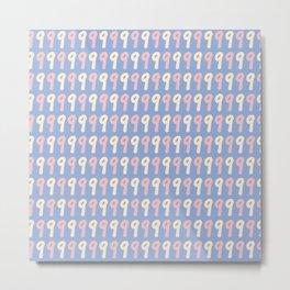 Typographic Number Nine Pattern Metal Print