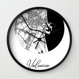 Valencia Area City Map, Valencia Circle City Maps Print, Valencia Black Water City Maps Wall Clock
