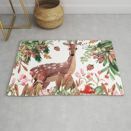 Cute, Festive, Deer and Nature Watercolor Rug