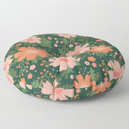 Coral Daisy Floor Pillow