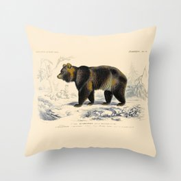 Vintage Grizzly Bear Throw Pillow