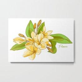 Yellow Plumeria Tropical Pattern Metal Print