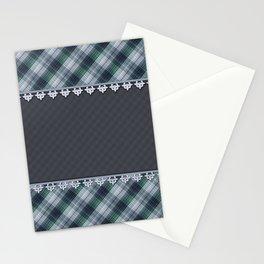 Blue plaid, plaid blanket, gray pattern, patchwork, folklore,  rustic style, elegant pattern, plaid Stationery Cards