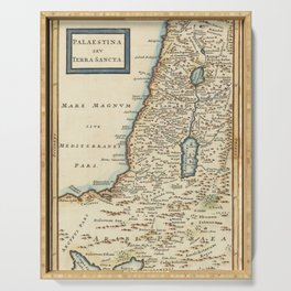 Vintage Map Print - 1780 map of Palestina by Christoph Cellarius Serving Tray
