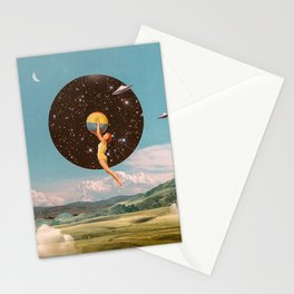 Black hole girl Stationery Cards