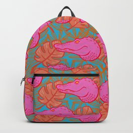Hot Pink Tropical Alligators Backpack