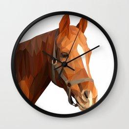 Brown Horse Head Lowpoly Art Illustration Wall Clock