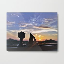 Sunset Silhouettes in Portland, Maine Metal Print