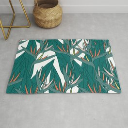 tropical strelitzia flowers leaf sketch, black contour pink coral yellow green. simple ornament Rug