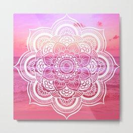Water Mandala Hot Pink Fuchsia Metal Print