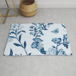 Classic Blue Flowers Rug