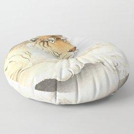 Resting Tiger - Vintage Japanese woodblock print Art Floor Pillow