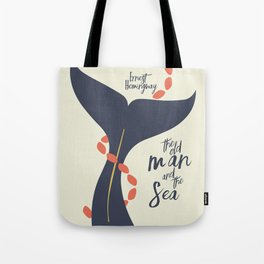 The old Man and the Sea, Ernest Hemingway book cover illustration, adventure novel Tote Bag