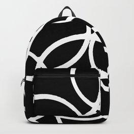 Interlocking White Circles Artistic Design Backpack