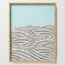 Venetian Waves // Vintage Abstract Pink Blue and Gold Summer Illustration Digital Beach Wall Decor Serving Tray