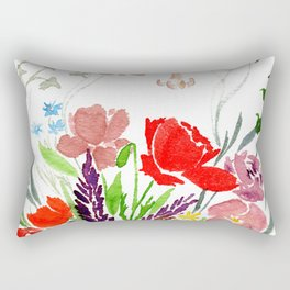 Watercolor Garden and Wildflower Bouquet Rectangular Pillow