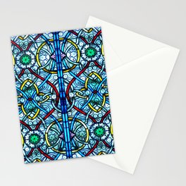 Symmetrical Floral Pattern Notre Dame Stained Glass Stationery Cards