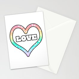 Pastel Love Mosaic Heart Graphic Design  Stationery Cards