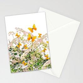 WHITE ART GARDEN ART OF YELLOW BUTTERFLIES Stationery Cards