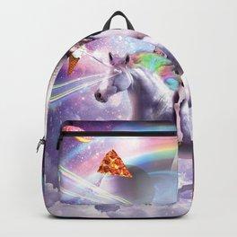 Laser Eyes Space Llama On Cow Unicorn - Rainbow Backpack