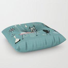 Mid Century Kitty Mischief - ©studioxtine Floor Pillow