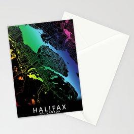 Halifax, NS, Canada, City, Map, Rainbow, Map, Art, Print Stationery Cards