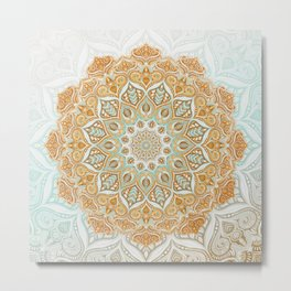 Dreamy Boho Mandala in Mustard, Sage and White Metal Print