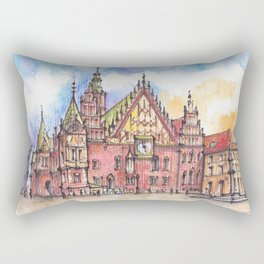 Wroclaw Poland ink & watercolor illustration Rectangular Pillow