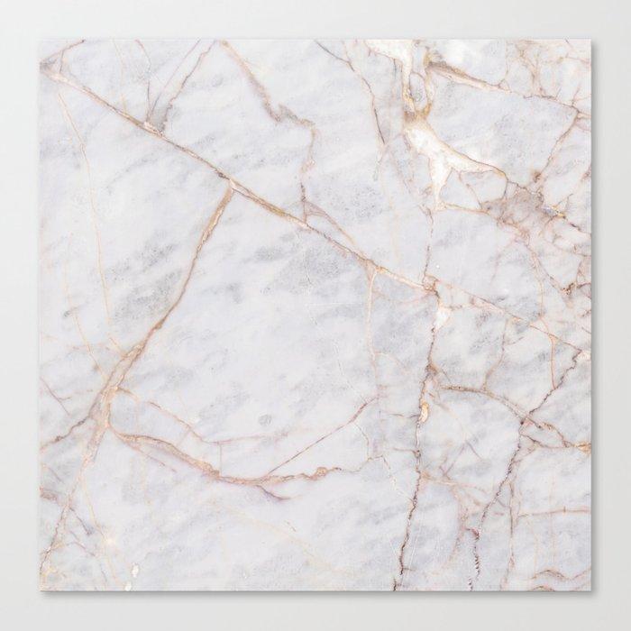 White Italian Marble & Gold Leinwanddruck