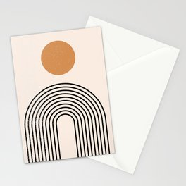 Mid Century Magic Sun With Oval Black Nesting Lines Abstract Shapes Stationery Cards