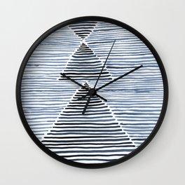 Rosario Watercolor Print in Blue Wall Clock