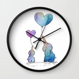 Colorful Watercolor Elephants Love Wall Clock
