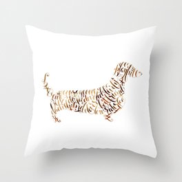 Dachshund Art Dachshund Portrait Dachsund Calligraphy Silhouette Throw Pillow