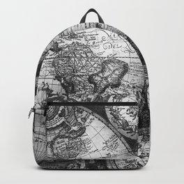 World Map Antique Vintage Black and White Backpack