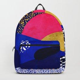 Terrazzo galaxy blue night yellow gold pink Backpack
